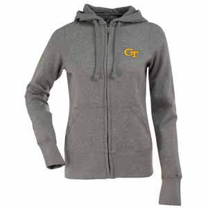 Georgia Tech Womens Zip Front Hoody Sweatshirt (Color: Gray) - Large