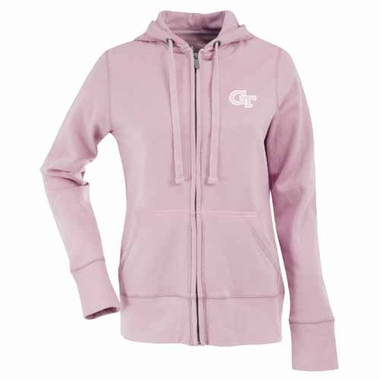 Georgia Tech Womens Zip Front Hoody Sweatshirt (Color: Pink)