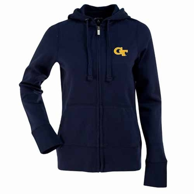 Georgia Tech Womens Zip Front Hoody Sweatshirt (Team Color: Navy)