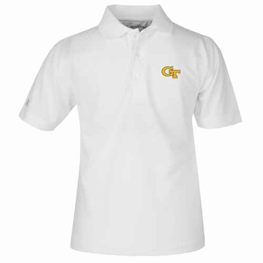Georgia Tech YOUTH Unisex Pique Polo Shirt (Color: White)