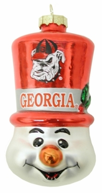 Georgia Tophat Snowman Glass Ornament