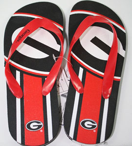Georgia Unisex Big Logo Flip Flops - Large