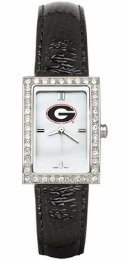 Georgia Women's Black Leather Strap Allure Watch