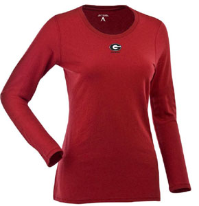 Georgia Womens Relax Long Sleeve Tee (Team Color: Red) - Large