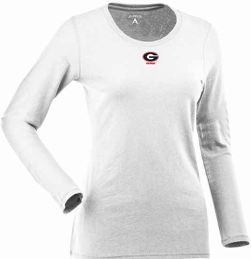 Georgia Womens Relax Long Sleeve Tee (Color: White)
