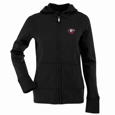 Georgia Womens Zip Front Hoody Sweatshirt (Color: Black)
