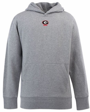 Georgia YOUTH Boys Signature Hooded Sweatshirt (Color: Gray)