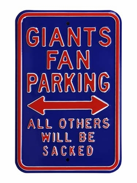 Giants/Sacked Parking Sign
