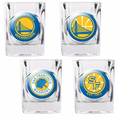 Golden State Warriors 4 Piece Assorted Shot Glass Set