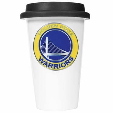 Golden State Warriors Ceramic Travel Cup (Black Lid)
