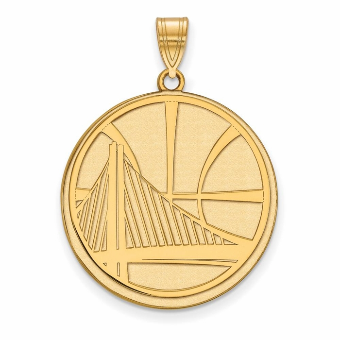 golden state warriors large 1 inch pendant gold