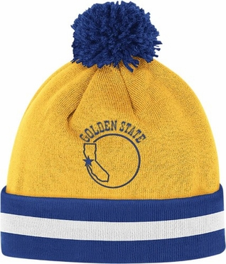 Golden State Warriors Vintage Jersey Stripe Cuffed Knit Hat w/ Pom