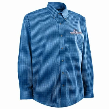 Gonzaga Mens Esteem Check Pattern Button Down Dress Shirt (Team Color: Royal)