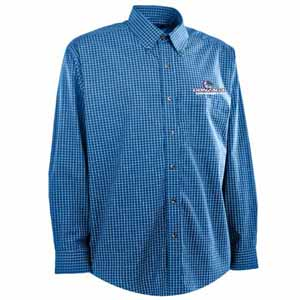 Gonzaga Mens Esteem Check Pattern Button Down Dress Shirt (Team Color: Royal) - Large