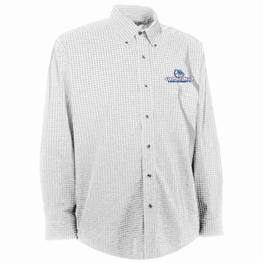 Gonzaga Mens Esteem Check Pattern Button Down Dress Shirt (Color: White)