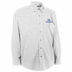 Gonzaga Mens Esteem Check Pattern Button Down Dress Shirt (Color: White) - Small