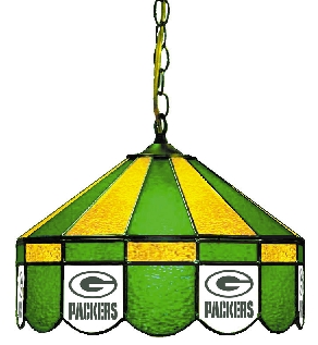 Green Bay Packers 16 Inch Diameter Stained Glass Pub Light