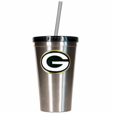 Green Bay Packers 16oz Stainless Steel Insulated Tumbler with Straw