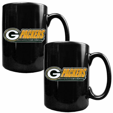 Green Bay Packers 2 Piece Coffee Mug Set (Wordmark)