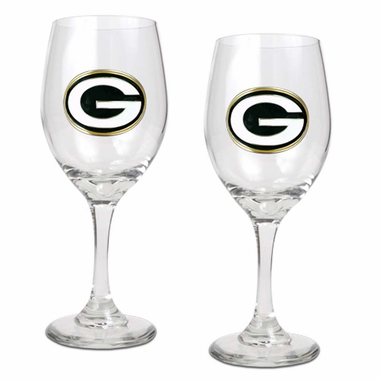 Green Bay Packers 2 Piece Wine Glass Set
