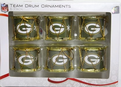 Green Bay Packers 2012 Plastic Drum 6 Pack Ornament Set