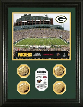 Green Bay Packers Green Bay Packers 4-Coin 24KT Gold Super Bowl Champions Photo Mint