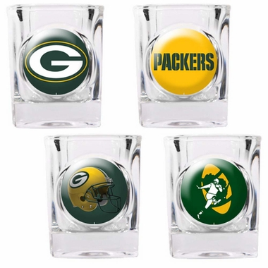 Green Bay Packers 4 Piece Assorted Shot Glass Set