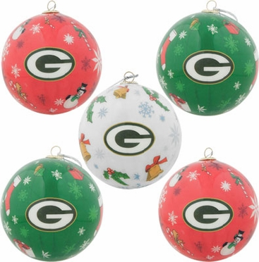 Green Bay Packers 5 Pack Decoupage Ball Ornament Set