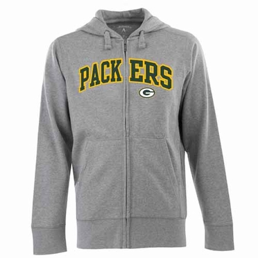 Green Bay Packers Mens Applique Full Zip Hooded Sweatshirt (Color: Gray)