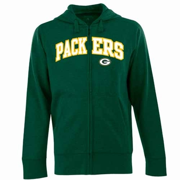 Green Bay Packers Mens Applique Full Zip Hooded Sweatshirt (Team Color: Green)