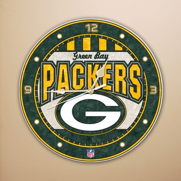 Green Bay Packers Art Glass Clock