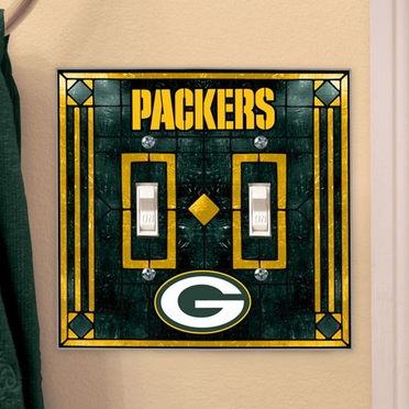 Green Bay Packers Art Glass Lightswitch Cover (Double)