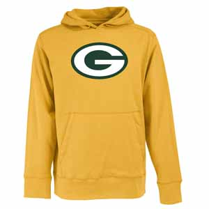 Green Bay Packers Big Logo Mens Signature Hooded Sweatshirt (Alternate Color: Gold) - Medium