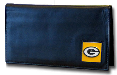 Green Bay Packers Black Leather Checkbook Cover (F)