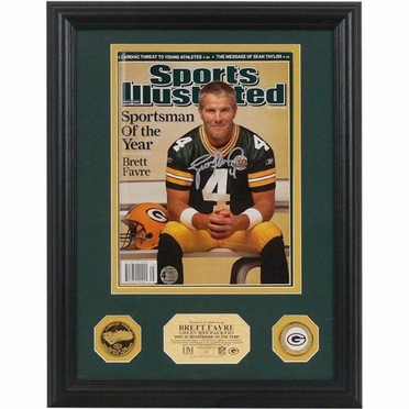 Green Bay Packers Brett Favre Autographed NFL �2007 Sportsman of the Year� SI I 24kt Gold Coin Photo Mint