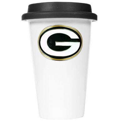 Green Bay Packers Ceramic Travel Cup (Black Lid)