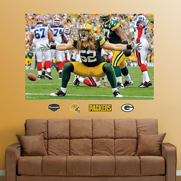 Green Bay Packers Clay Matthews Mural Fathead Wall Graphic