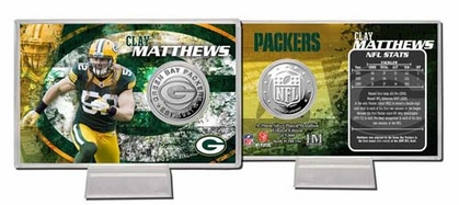 Green Bay Packers Clay Matthews Silver Coin Card