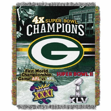 Green Bay Packers Commerative Jacquard Woven Blanket