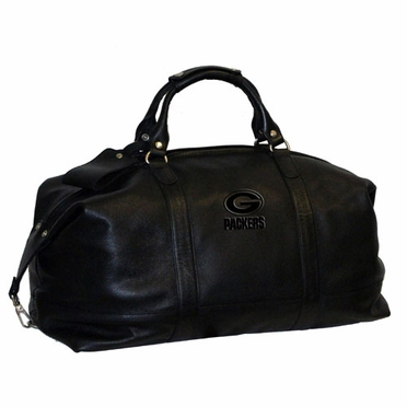 Green Bay Packers Debossed Black Leather Captain's Carryon Bag