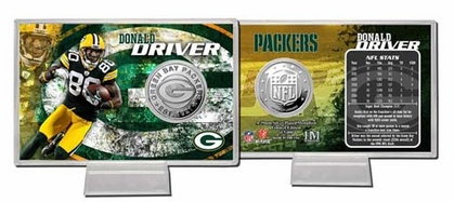 Green Bay Packers Donald Driver Silver Coin Card