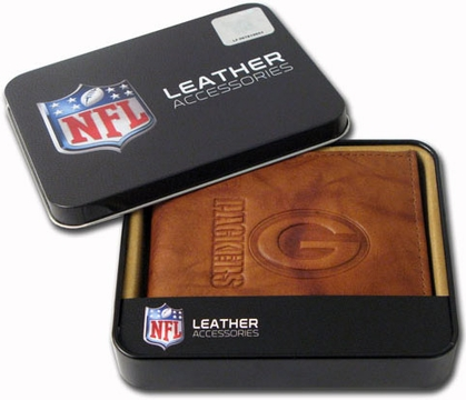 Green Bay Packers Embossed Leather Bifold Wallet