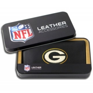 Green Bay Packers Embroidered Leather Checkbook Cover