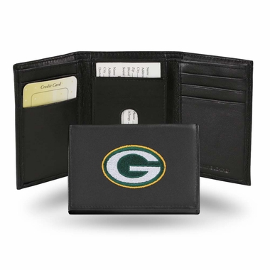 Green Bay Packers Embroidered Leather Tri-Fold Wallet