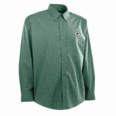 Green Bay Packers Mens Esteem Check Pattern Button Down Dress Shirt (Team Color: Green)