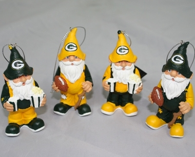 Green Bay Packers Gnome Ornament 4 Pack