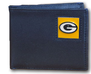 Green Bay Packers Leather Bifold Wallet (F)