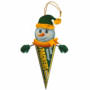 Green Bay Packers Light Up Snowman Pennant Ornament (Set of 2)