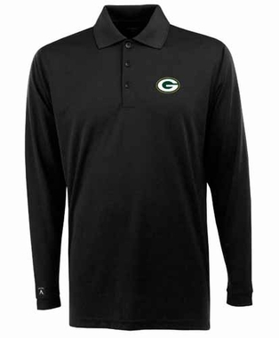 Green Bay Packers Mens Long Sleeve Polo Shirt (Color: Black)
