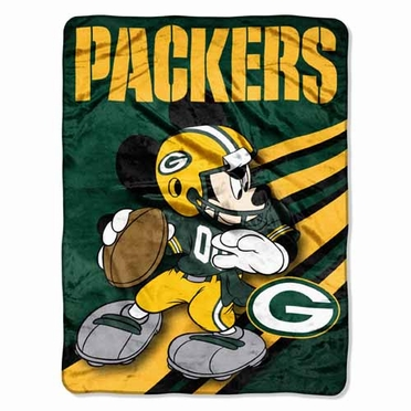 Green Bay Packers Mickey Mouse Microfiber Throw